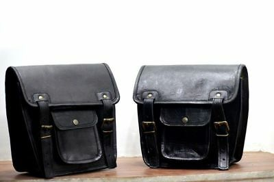 2 Side Motorcycle Pouch Black Leather Side Pouch Saddlebags Saddle Panniers