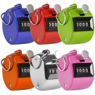 Pack of 6 Color Hand Held Tally Counter 4 Digit Mechanical Palm Clicker Counter