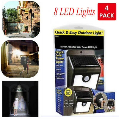 4 PCS Ever Brite 8 LED Outdoor Light-AS ON TV Everbrite Solar Powered & Wireless