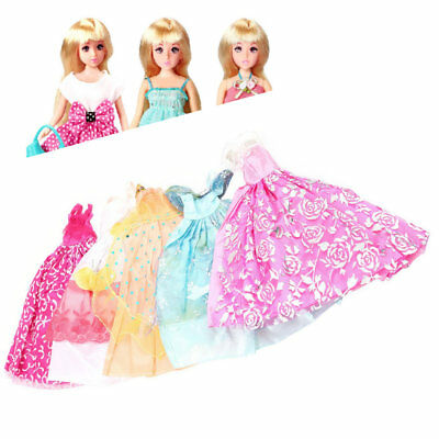 5Pcs Handmade Princess Party Gown Dresses Clothes 10 Shoes For Barbie Doll G1