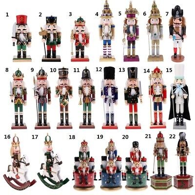 22 Patterns Wood Nutcracker Soldier King Figures Music Box Home Decor Xmas Gift