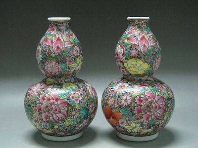 China Famille Rose Porcelain a pair vases Painted Many flowers Gourd shape vases