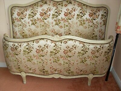 French Louis XV Corbelle Upholstered Queen Size Vintage Bed