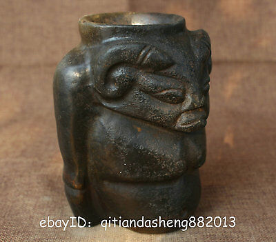 China hongshan jade Liangzhu Culture Carved Goat head Pot Dragon cup Beast No80