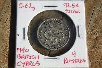 British Cyprus 1940 9 piastres silver coin