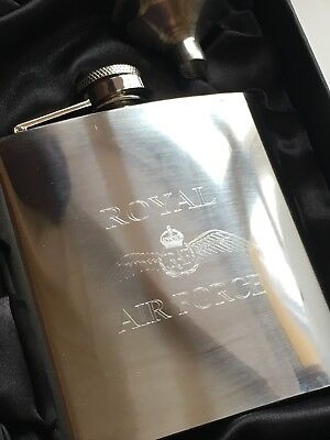 RAF Royal Air Force Military Personalised 6oz Stainless Steel Hip Flask