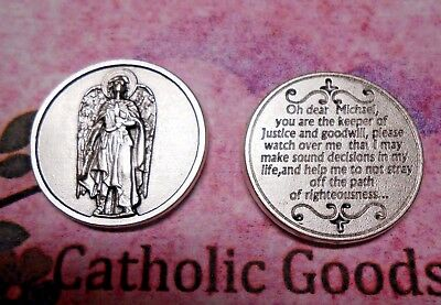St. Michael - Prayer to Saint Michael the Archangel - Silver tone Pocket Coin