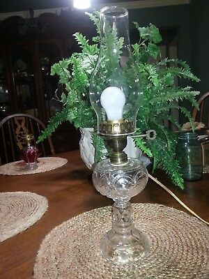 """Vintage Heart Glass Oil Lamp Base -Electric Table Lamp with Chimney 18"""""""