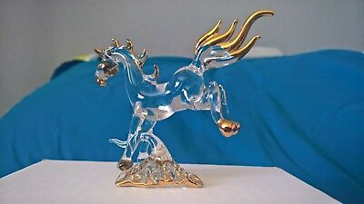 Blown Glass Figurine - Clear glass bucking horse with gold trim