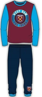 Boys Girls Authentic New Official West Ham FC WHUFC Badge Pyjamas Age 4-12 Years