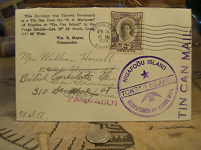 Tonka Tin Can Mail Outbound San Franciso CA w/Wm. R Myers Commander Hard to Find
