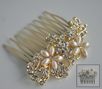 Pearl flowers & clear crystal/diamante wedding hair comb. Silver or gold plated