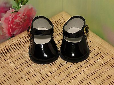 Shoes To Fit The American Galoob Baby Face Girl Doll Black Shiny Maryjane