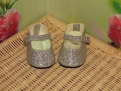Shoes To Fit The American Galoob Baby Face Girl Doll Silver Glitter Maryjane
