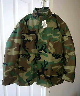 New NWT Real Genuine Govt US Military M-65 Field Jacket Woodland With Liner  XLR