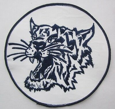 Large 7.5 Inch BOB CAT COUGAR MOUNTAIN LION WILD ANIMAL White Blue Jacket Patch