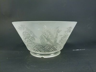 Antique Frosted Glass Shade with Floral Motif