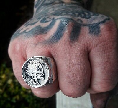 1938 Indian Skull Hobo Nickel Silver Hammered Ring Size 11.5