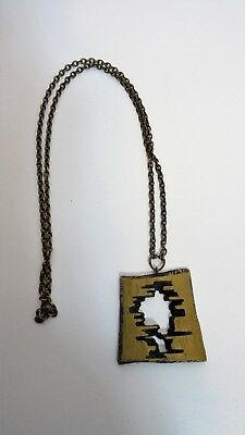 Vintage Collier pendentif moderniste sixties design necklace