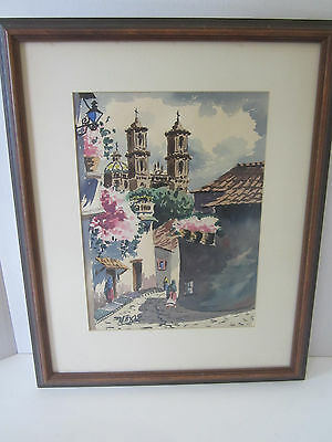 Early 20th Century Spanish Village Original Watercolor Max Vidal Cheery Colorful