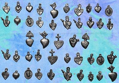 MIlagros Hearts Antiqued Silver 25 Milagro Charms Day Of Dead Exvoto