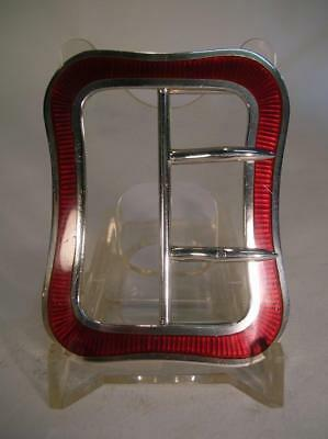 Antique Silver Buckle. Red Enamel. David & George Edward. 1910 (45)