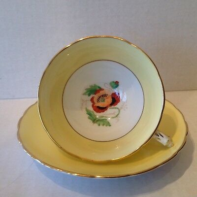 Tuscan Bone China Yellow Teacup and Saucer Handpainted  POPPY England