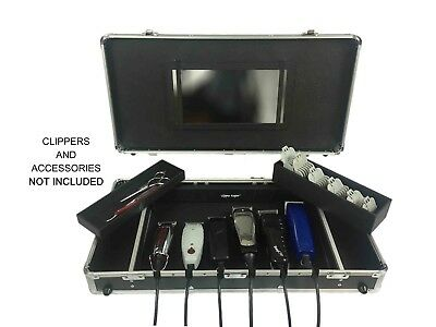 Human Hair Clipper Case for Barbers Carrying Portable-Display Storage Unit Box