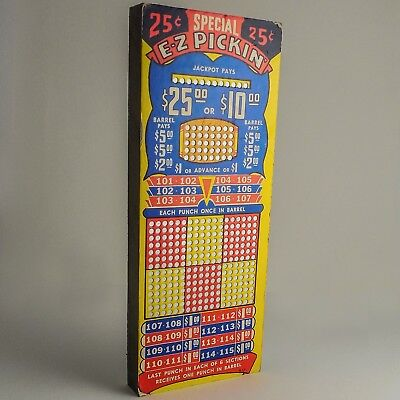 """Vintage """"E-Z"""" Pickin' 25 Cent Punch Board Game — UNPUNCHED $25-$10 Jackpot — FUN"""