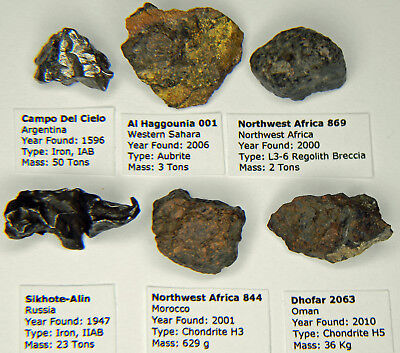 Meteorite Collection Lot Six Different Types Labeled With Display Box (2)