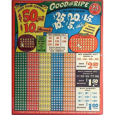 """Vintage """"GOOD & RIPE"""" 25 Cent Punch Board Game — UNPUNCHED $50-$10 Jackpot LARGE"""