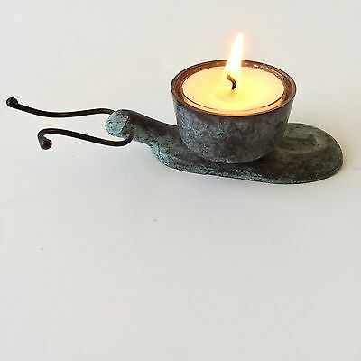 Tag Candle Holder Snail Heavy Weathered Bronze Green Patina Vintage Tea Light