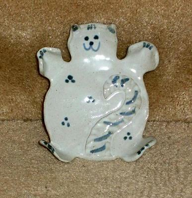 Grey Cat shaped dish bowl spoon rest, hand made and glazed stoneware