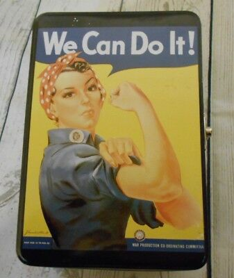 """Collectible Rosie The Riveter Tin Lunch Box """"We Can Do It""""  5x7"""