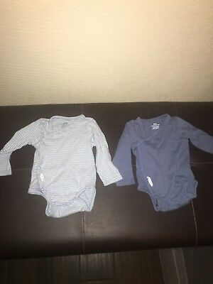 H&m Two Pack Onsie Organic Cotton New Born Blue And Blue Striped size new born 2