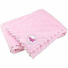 NWT Carters Child Of Mine Pink White Butterfly Scalloped Quilted Baby Blanket