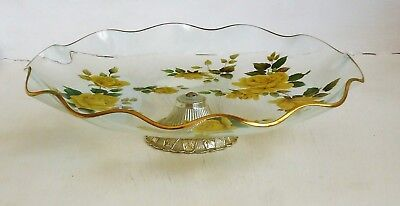 Vintage Pilkington's Chance Glass England Cake Plate on Stand *Yellow Roses