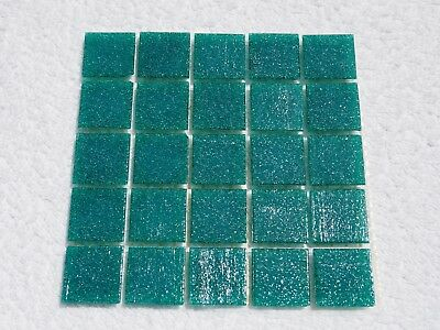 "Green Vitreous Glass Tiles 25 x pcs for MOSAIC & Glass Crafts Approx ""2cm x 2cm"""
