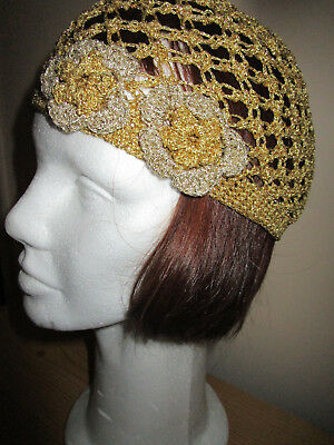 Vintage 70's ABBA GOLD LAME  with touch of SILVER Womens Crocheted Gatsby Cloche