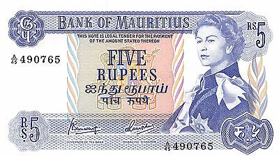 Mauritius  5 Rupees  ND. 1967  P 30 Series A/45  Uncirculated Banknote