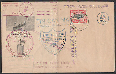 1937 - Tin Can Mail Tonga  Cover Unaddressed - Multiple Scarce Cachets