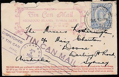 1935 - Tonga Tin Can Mail Cover - Multiple Scarce Cachet Addressed To Sydney