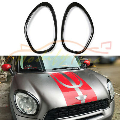 (2) Gloss Black Headlight Surround Rim Decoration For Mini Cooper Countryman R60
