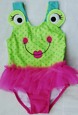 Candlesticks One-Piece Swimsuit ~ Cute Green & Pink Frog ~ Age 2 Years