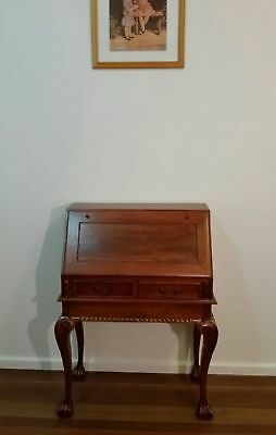 Mahogany Antique Reproduction Writing Desk Drop Front Chippendale Ball and Claw