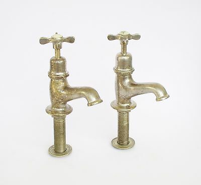 Antique Chromed Brass Hot Cold Pair Of Water Taps/faucets