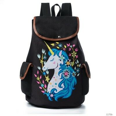 Unicorn Backpack New Shoulder Vintage Bag Women Girl Fashion Canvas Rucksack