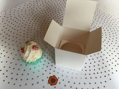 30 TALL  Single IVORY Pinstripe CUPCAKE  -   boxes  80 x 80 x 95mm with inserts