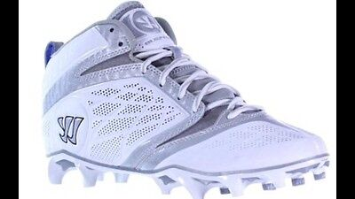 New Warrior Burn 6.0 Mid Lacrosse Cleat Athletic Team White/Silver size 12 $90