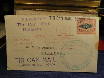 Tonka Tin Can Mail Inbound to W. G. Quensell from Nukualof- No date